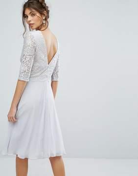 Elise Ryan V Back Midi Dress With Eyelash Lace Upper
