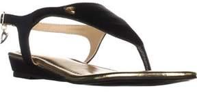 Thalia Sodi Ts35 Isaa Thong Wedge Ankle Strap Sandals, Black.