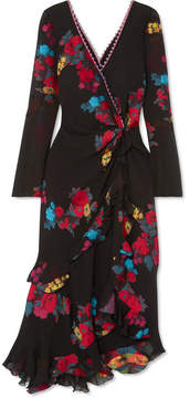 Etro Twist-back Ruffled Asymmetric Silk-blend Jacquard Midi Dress - Black