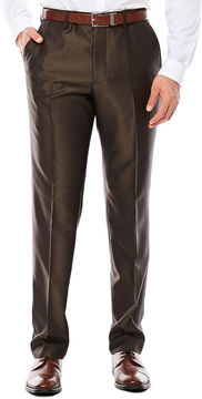 Jf J.Ferrar Men's JF Brown Shimmer Flat-Front Straight-Leg Slim-Fit Pants