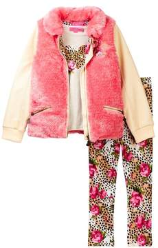Betsey Johnson Heart Tee, Faux Fur and Pleather Jacket & Printed Legging Set (Little Girls)