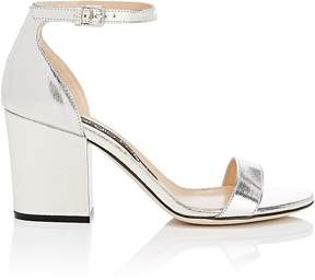 Sergio Rossi WOMEN'S METALLIC LEATHER ANKLE-STRAP SANDALS