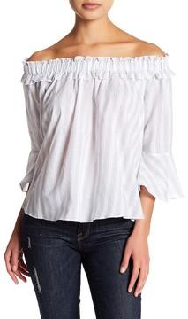 Flying Tomato Stripe Off-the-Shoulder Gauze Shirt