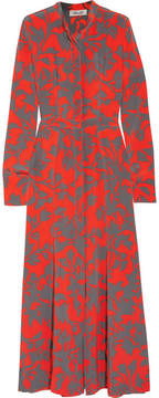 Diane von Furstenberg Printed Washed-silk Maxi Dress - Red