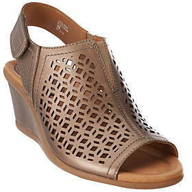 Earth Leather Wedge Sandals w/ Cut-out Details- Cascade