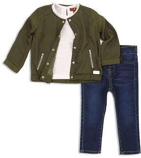 7 For All Mankind Girls' Bomber Jacket, Tee & Jeans Set - Little Kid