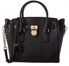 MICHAEL Michael Kors Hamilton Leather Satchel. - BLACK - STYLE