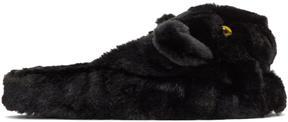 Dolce & Gabbana Black Faux Fur Puma Slippers
