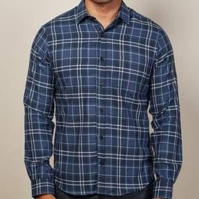 Blade + Blue Tonal Blue & White Flannel Plaid Shirt - Nigel