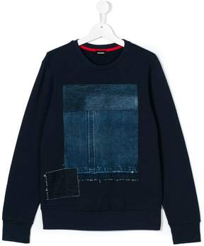 Diesel denim patch sweatshirt