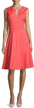 Zac Posen Fern-Embroidered Virgin Wool Fit & Flare Dress, Apricot