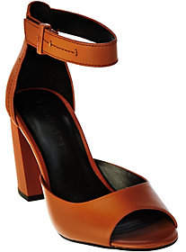 Halston H by Leather Block Heels w/ AdjustableStrap - Carina