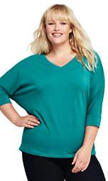 Lands' End Women's Plus Size Dolman Sleeve Wedge Top-Black