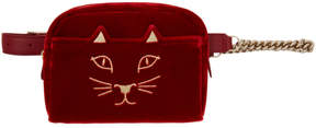 Charlotte Olympia Red Velvet Purrrfect Belt Bag