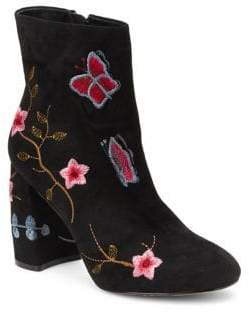 Nanette Lepore Nanette By Lilly Embroidered Floral Faux Suede Booties