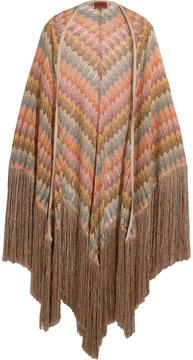 Missoni Fringed Metallic Crochet-knit Wrap - Pink