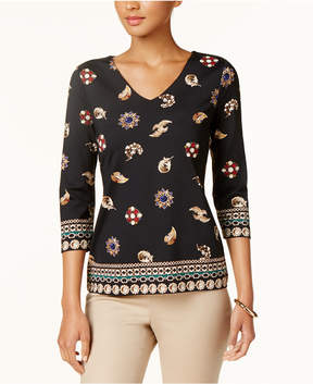 Charter Club Jewelry-Print V-Neck Top, Created for Macy's