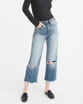 Abercrombie & Fitch High-Rise Wide Leg Cropped Jeans