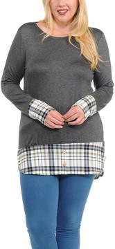 Celeste Charcoal & Olive Plaid-Trim Button-Accent Tunic - Plus