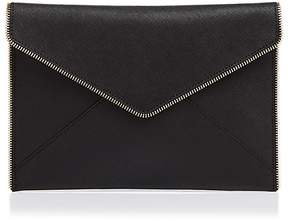 Rebecca Minkoff Leo Saffiano Leather Clutch - BLACK/GOLD - STYLE