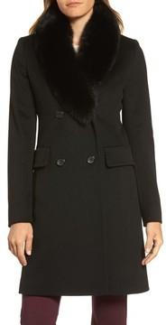 Fleurette Women's Loro Piana Wool Coat With Genuine Fox Fur Collar