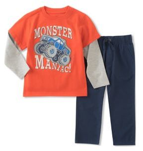 Kids Headquarters Little Boys Two-Piece Monster Maniac Top and Jogger Pants Set