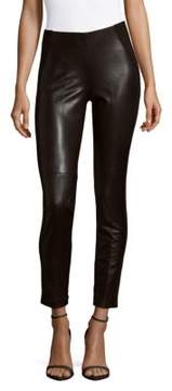 Saks Fifth Avenue BLACK Leather Front Pants