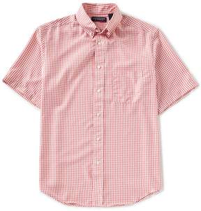 Roundtree & Yorke Performance Big and Tall Short-Sleeve Checked Sportshirt