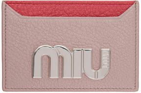 Miu Miu Pink Colorblock Big Logo Card Holder