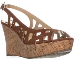 Thalia Sodi Ts35 Ebbie Slingback Wedge Sandals, Cognac.