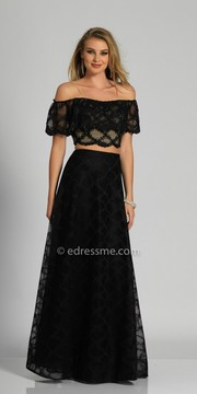 Dave and Johnny Off the Shoulder Lace Two Piece Evening Dress