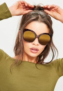 Missguided Brown Tortoiseshell Oversized Sunglasses