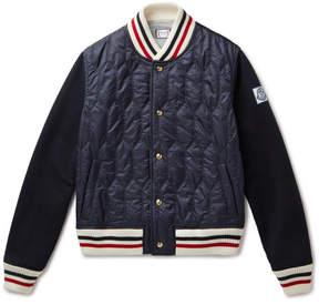 Moncler Gamme Bleu Shell And Wool-Blend Bomber Jacket