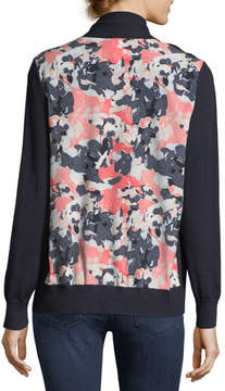 Neiman Marcus Cashmere Abstract-Back Open-Front Cardigan