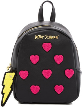 Betsey Johnson Collegiate Heart Small Backpack