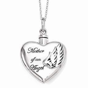 Ash Jewelrypot Sterling Silver W/ Rhodium-plated Mother of an Angel Holder 18in. Necklace