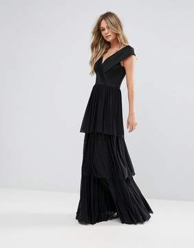 Club L Tulle Overlay Off The SHoulder Maxi Dress