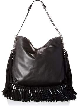 Steve Madden BMADLY Hobo Shoulder Bag with Suede Hanging Fringe (Black)