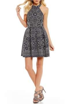 B. Darlin Glitter Pattern Fit-And-Flare Dress