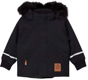 Mini Rodini Black K2 Fox Family Parka with Faux Fur Trim