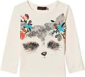 Catimini White Raccoon with Flowers Print Tee