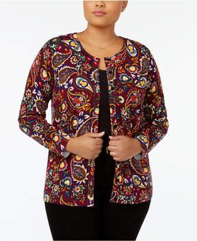 August Silk Plus Size Paisley-Print Cardigan