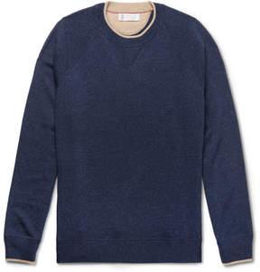 Brunello Cucinelli Contrast-Tipped Mélange Cashmere Sweater