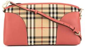 Burberry Pink Leather and Horseferry Check Chichester Crossbody Bag - PINK - STYLE