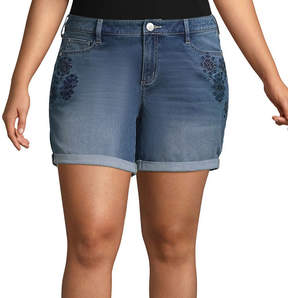 Boutique + + 6 Embroidered Rolled-Up Denim Shorts - Plus