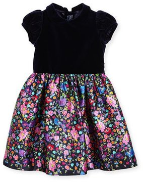 Oscar de la Renta Collared Floral Mikado Dress, Multicolor, Size 2-6