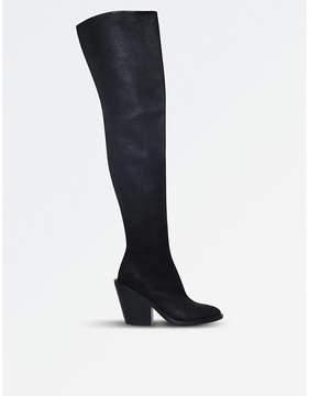 A.F.Vandevorst A F Vandevorst Ladies Black Casual Suede Cuban Heel Over-The-Knee Boots
