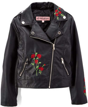 Urban Republic Black Embroidered Faux Leather Moto Jacket - Infant, Toddler & Girls
