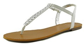 Material Girl Sage Women Open Toe Canvas White Thong Sandal.
