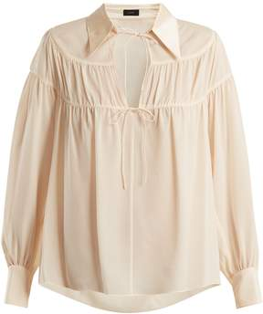 Joseph Crosby gathered silk-georgette blouse